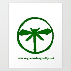 Green Dragonfly Logo T-Shirt Art Print