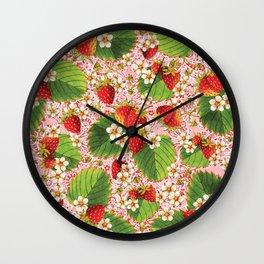 Pink Paisley Strawberries Wall Clock