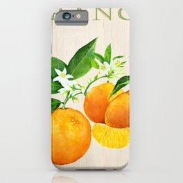 Oranges and their Blossoms On Wood iPhone Case