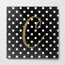 """Retro Black + White Polka Dot + Faux Gold Foil """"C"""" Monogram Metal Print"""