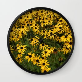 Yellow Garden Flowers Wall Clock