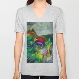 Sunset Landscape with Mountains by R. Matta Unisex V-Neck