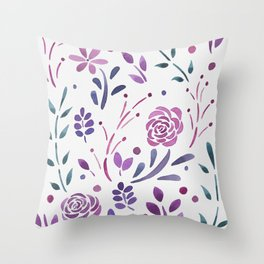 Fresh Floral - Berry Throw Pillow