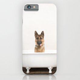 German Shepherd in Vintage Bathtub iPhone Case
