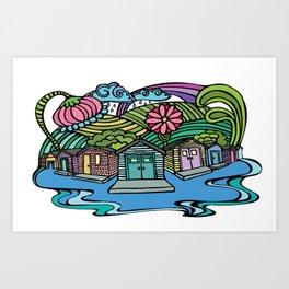 Island Beach Cottage Row Art Print