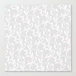 Pastel gray white abstract vintage damask pattern Canvas Print