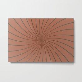 3D Sherwin Williams Cavern Clay SW7701 Thin Striped Spiral Pinwheel Metal Print