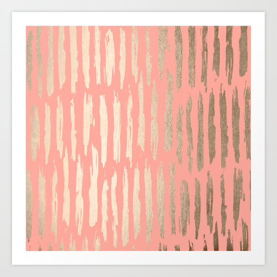 Vertical Dash Tahitian Gold on Coral Pink Stripes Art Print
