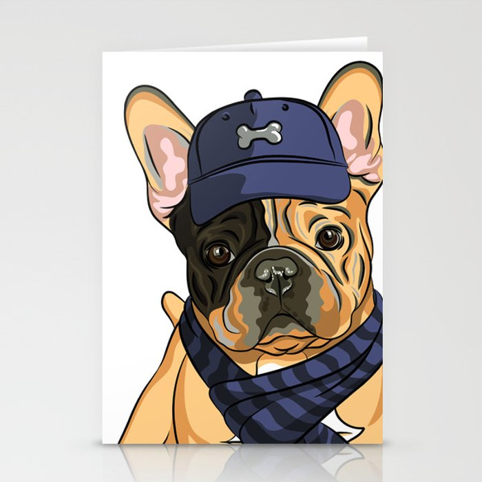 Cute puppy pug in baseball hat and scarf. Stationery Cards by ... 04668ec3982
