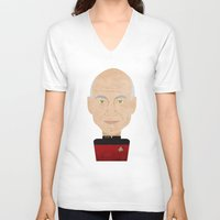 picard V-neck T-shirts featuring Captain Picard by Sam Del Valle