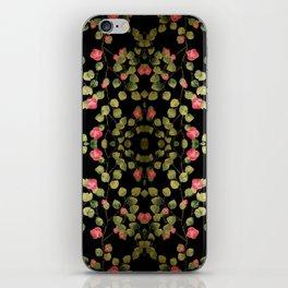 """Spring pink flowers and leaves - Black"" iPhone Skin"