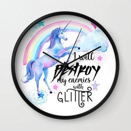 Destroy With Unicorn Glitter Wall Clock