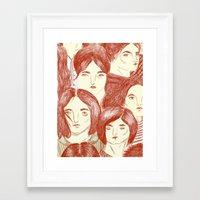 girls Framed Art Prints featuring Girls by Katty Huertas
