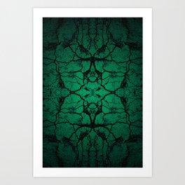 Green cracked wall Art Print
