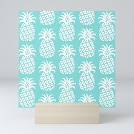 Retro Mid Century Modern Pineapple Pattern 732 Turquoise Mini Art Print