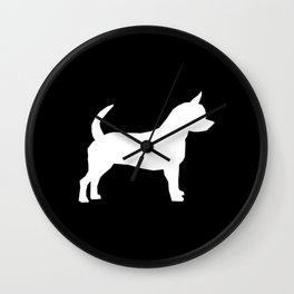 Chihuahua silhouette black and white pet art dog pattern minimal chihuahuas Wall Clock