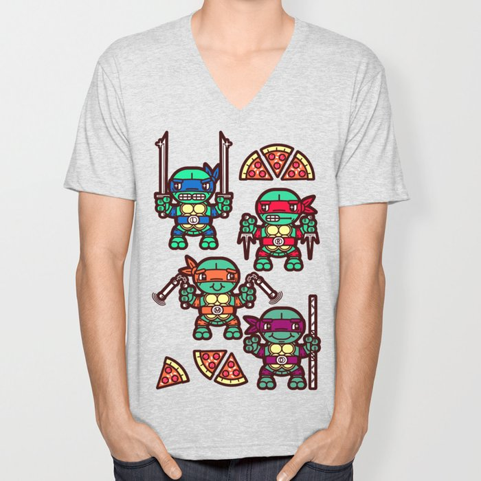 1a722394a Teenage Mutant Ninja Turtles Pizza Party Unisex V-Neck by chobopop ...