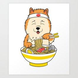 Pomeranian Eating Ramen  Art Print