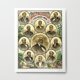 Vintage 1883 African American 'Distinguished Men of Color Poster by A. Muller & Co. Metal Print