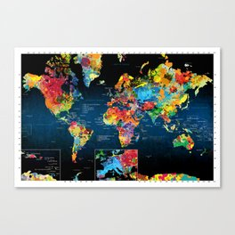 World Map Black - 2 Canvas Print