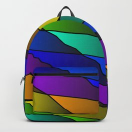 Slanting rainbow lines and rhombuses on violet with intersection of glare. Backpack