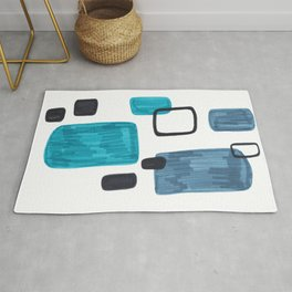 Mid Century Modern Abstract Minimalist Art Colorful Shapes Vintage Retro Style Turquoise Blue Grey Rug