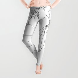 Minimal Line Art Woman Flower Head Leggings