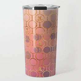 Metal pattern with pink bubble and copper frogs Travel Mug