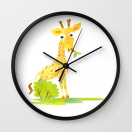 Baby Animal Watercolor Giraffe Adorable Nursery Wall Clock