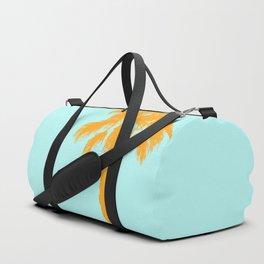 Orange palm trees silhouettes on blue Duffle Bag