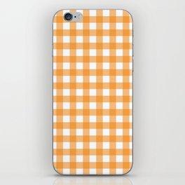 Orange gingham pattern iPhone Skin