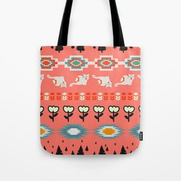 Winter pattern  with cats and flowers Tote Bag