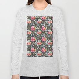 Elegant botanical blush pink teal green watercolor floral Long Sleeve T-shirt