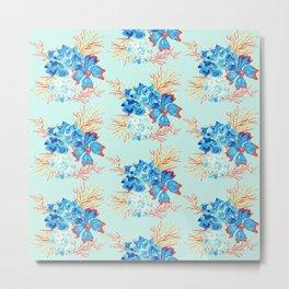 Seaside Floral Print Metal Print