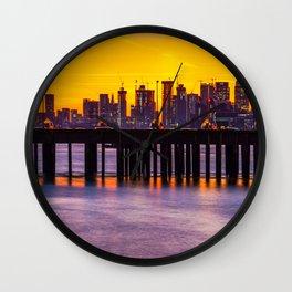 Sunset at Canary Wharf Wall Clock