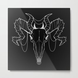 Horned Skull B&W Metal Print