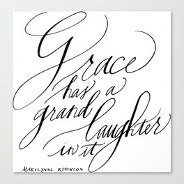Marilynne Robinson on Grace (Calligraphy) Canvas Print