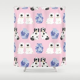 Staffordshire Dogs + Ginger Jars No. 4 Shower Curtain