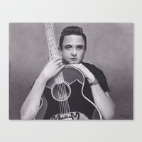 johnny cash Canvas Prints featuring Johnny Cash by Brittni DeWeese