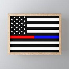 Thin Blue Red Line Police Framed Mini Art Print