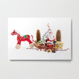 Santa Claus on wooden sled Metal Print