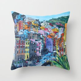 Cinque Terre, Italy - hillside with colourful houses and harbour  Throw Pillow