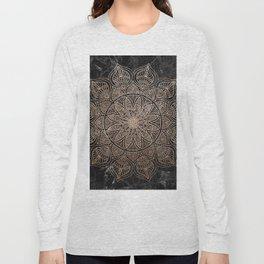 Mandala - rose gold and black marble 4 Long Sleeve T-shirt
