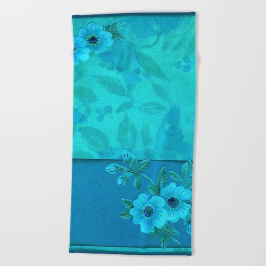 Teal paper flowers Beach Towel