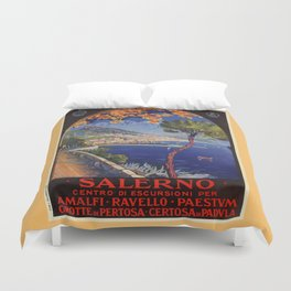 Salerno Italy vintage summer travel ad Duvet Cover