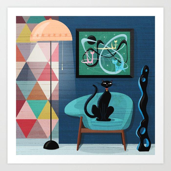 Creature Comforts Mid-Century Interior With Black Cat Kunstdrucke