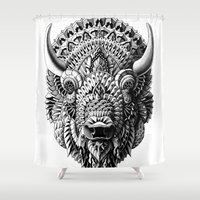 bioworkz Shower Curtains featuring Bison by BIOWORKZ