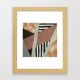 Abstract Geometric Composition in Copper, Brown, Black Framed Art Print