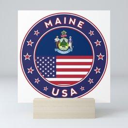 Maine, Maine t-shirt, Maine sticker, circle, Maine flag, white bg Mini Art Print