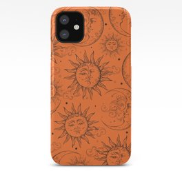 Orange Magic Celestial Sun Moon Stars iPhone Case